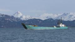 Landing Craft Under Way with Loader and Truck in Kachemak Bay Alaska Stock Footage