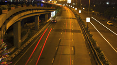 Mumbai marine drive timelapse of night traffic - stock footage