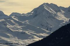 Panoramic view, south side, of massif of maladeta in the pyrenees Stock Photos