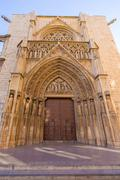 valencia cathedral apostoles door tribunal de las aguas - stock photo