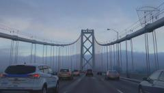 Midway Across West Span Oakland San Francisco Bay Bridge Foggy Morni Stock Footage