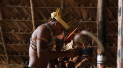 Indian tribe ritual in Amazon, Brazil Stock Footage