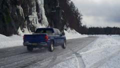Pickup Truck Controlled Skid on Snowy Winter Road Stock Footage