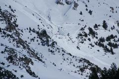 Small avalanche bottom view, torla resort,spain Stock Photos