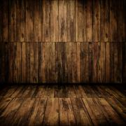 grunge cabin interior with a wooden wall and floor - stock illustration