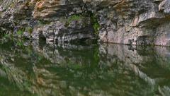 Reflections on Green Pond Tilt Up to Rocky Cliff with Lichen and Flo Stock Footage