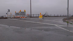 Road Closed Due to Flooding Signs Stock Footage
