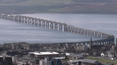 Elevated view of Tay Rail Bridge and University of Dundee Scotland Stock Footage