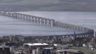 Stock Video Footage of Elevated view of Tay Rail Bridge and University of Dundee Scotland