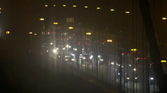 Rush Hour Traffic in Fog on Golden Gate Bridge at Night Stock Footage