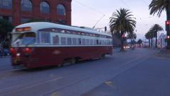 San Francisco Transit Muni Bus Electric Tram Transportation Evening Stock Footage