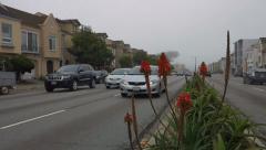 San Francisco City Traffic 19th Avenue Foggy Red Flowers Stock Footage