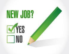 Yes to new job check mark. illustration design Stock Illustration