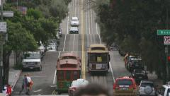 San Francisco Hyde Street Scene Cable Cars Pedestrians Traffic Low A Stock Footage