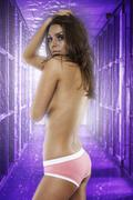 Sexy young naked brown hair woman wearing pink pants Stock Photos