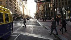 San Francisco Market St Muni Streetcar Intersection Pedestrians Driv Stock Footage