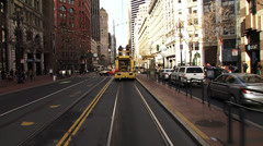 San Francisco Muni Electric Utility Workers on Truck Driving POV - stock footage
