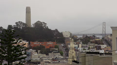 San Francisco Scenic - Coit Tower, Bay Bridge, St Peter Paul Church. Stock Footage