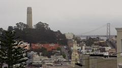 San Francisco Scenic - Coit Tower, Bay Bridge, St Peter Paul Church. Stock Footage