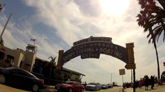 Santa Monica Pier Harbor Entrance Sign With Sun- Santa Monica CA Stock Footage