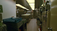 Ships Galley Kitchen After Hours Deserted Stock Footage