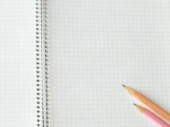 pencils on copy-book - stock photo