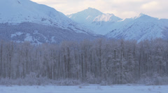 Snowy Chilkat Mountains in Winter - Slow Pan Right - stock footage