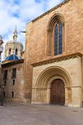 valencia romanesque palau door of cathedral spain - stock photo