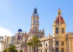 Valencia ayuntamiento kaupungin raatihuoneen vieressä espanja Kuvituskuvat