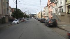 Sunset District Street Wires and Colorful Houses San Francisco Stock Footage