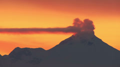 Sunset Steaming Volcano Timelapse Stock Footage