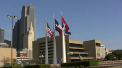 Three Flags City Hall And Dallas Skyline Stock Footage