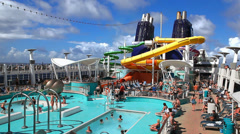 Torists in the pool of the cruise ship - stock footage