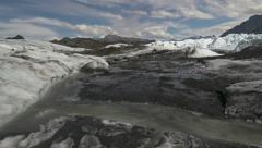Supraglacial Meltwater Channel Matanuska Glacier Alaska pan right Stock Footage