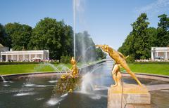 Fountains of Petergof, Saint Petersburg, Russia - stock photo