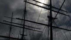 Tall Ship Intense Tilt Masts and Rigging Stark Contrast Sun Flare Stock Footage
