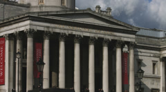 Trafalgar Square - National Gallery entrance 4K Stock Footage