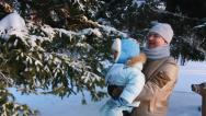 Stock Video Footage of Young father and a baby in winter