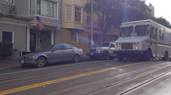 US Postal Service Mail Truck on Hyde Street San Francisco Drive By Stock Footage