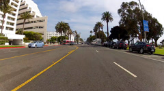 POV Car Driving South On Ocean Avenue Downtown Santa Monica CA Stock Footage