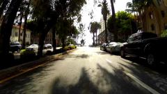 POV Driving Car In Upscale Santa Monica California Neighborhood Stock Footage