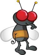 House Fly Cartoon Character - stock illustration