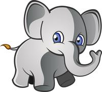 Baby Elephant Cartoon Character - stock illustration