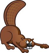 Beaver Cartoon Character - stock illustration