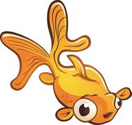 Goldfish Pet Cartoon Character - stock illustration