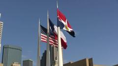 Three Flags Dallas Skyline Stock Footage