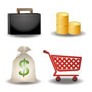 Online shopping buttons Stock Illustration