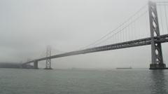 Yerba Buena Island San Francisco Bay Bridge Tanker in Fog Stock Footage