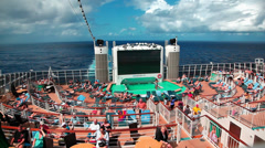 Big screen TV on the deck of the cruise ship Stock Footage
