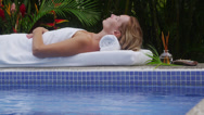 Stock Video Footage of Woman relaxes at tropical spa, Costa Rica